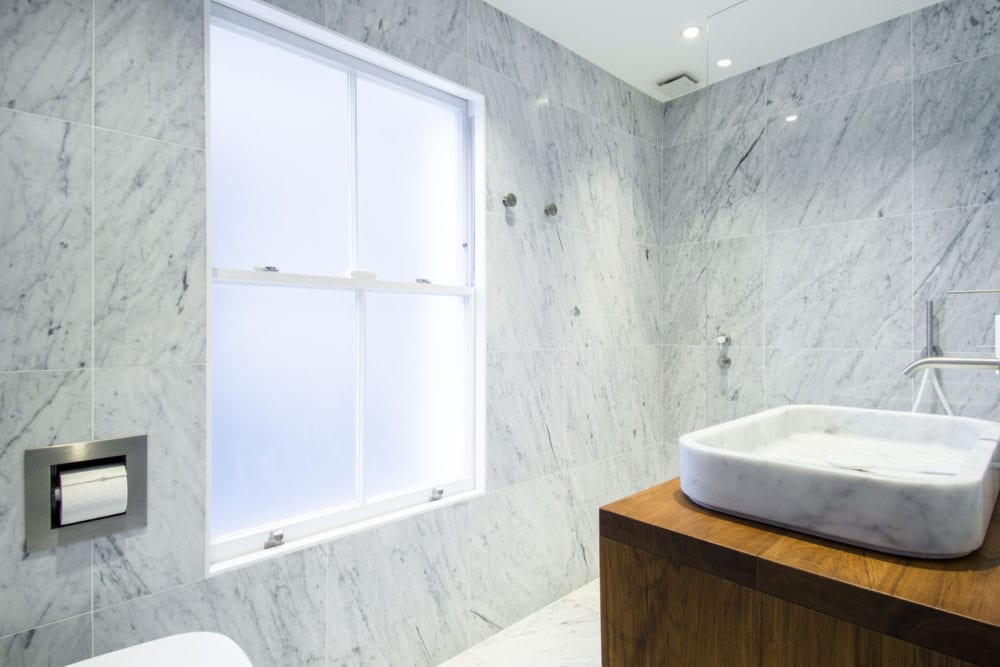 Primrose Hill Bathroom- NW3 interiors used trusted furniture brands to uplift this stunning Primrose Hill village home. Click to see on our interior design portfolio.