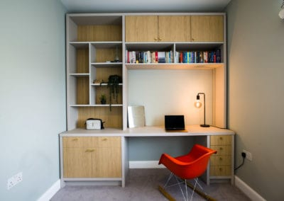 Bedroom with storage and desk set up. Primrose Hill Family Home. Interior Design Portfolio from NW3 Interiors. Click to view all our beautiful homes across Primrose Hill, Belsize Park and other areas in North London.