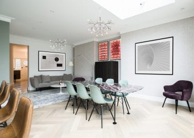Living & Dining Area Design - Highgate Family Home Project. NW3 Interiors is an interior design studio in North London. We work on projects of all sizes & budgets in Hampstead, Primrose Hill, Camden & Belsize Park. Click to view our interior design portfolio.