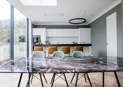 Dining Area Table - Highgate Family Home Project. NW3 Interiors is an interior design studio in North London. We work on projects of all sizes & budgets in Hampstead, Primrose Hill, Camden & Belsize Park. Click to view our interior design portfolio.