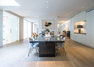 Dining Area Design - St Johns Wood Family Home. NW3 Interiors is an interior design studio in North London. We work on projects of all sizes & budgets in Hampstead, Primrose Hill, Camden & Belsize Park. Click to view our interior design portfolio.
