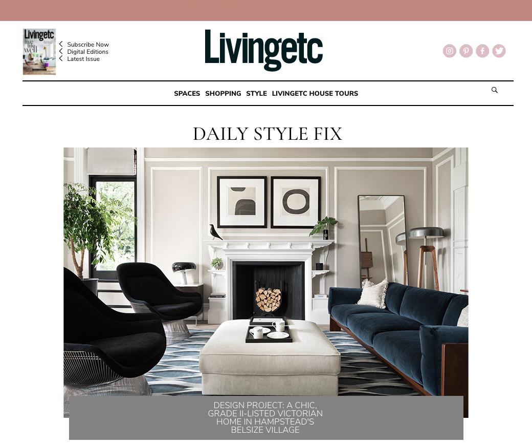 Interior design press Livingetc coverage for NW3 interiors.