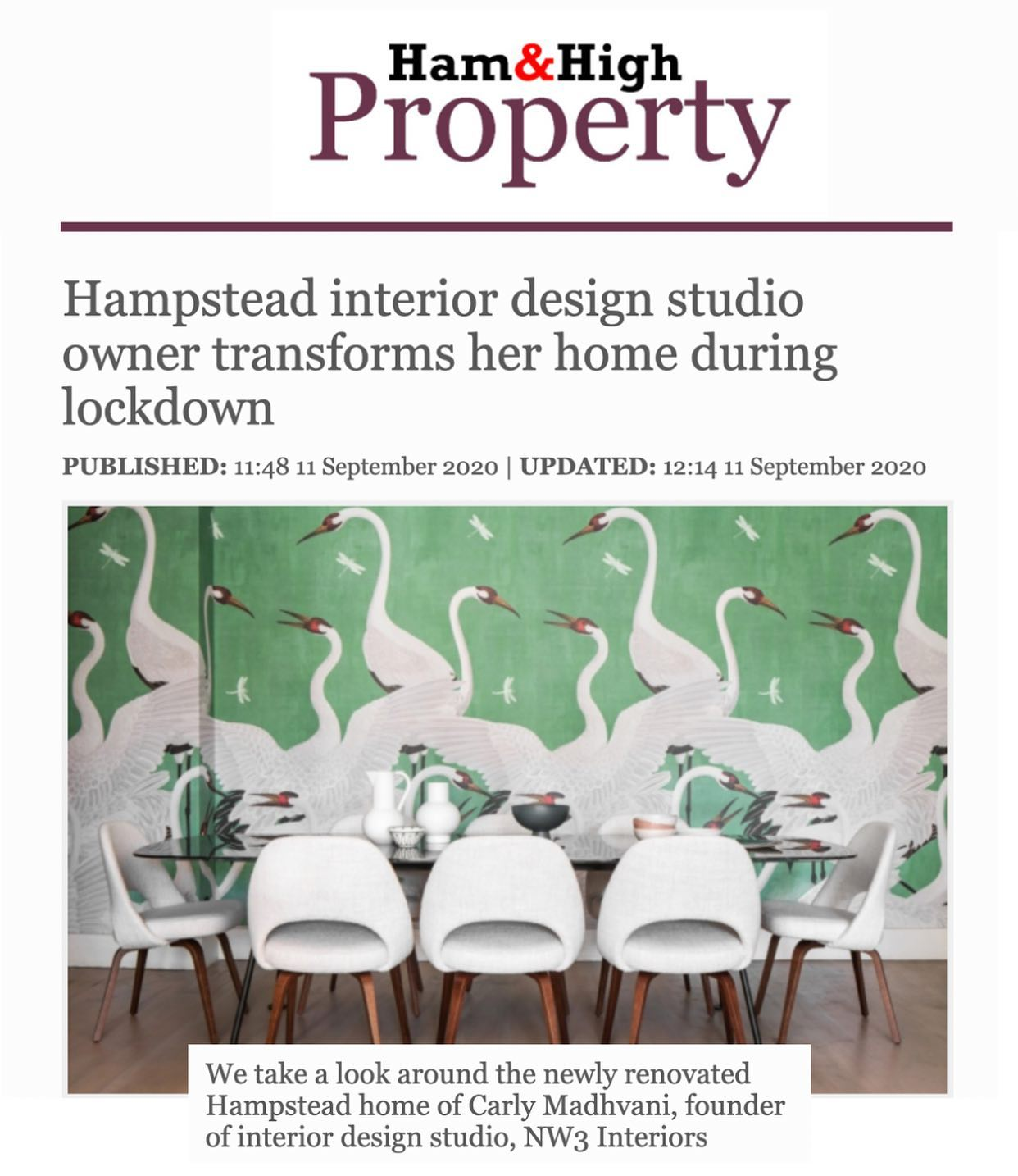 Interior design press Ham & High coverage for NW3 interiors.