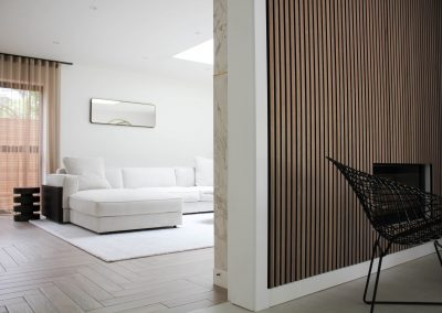 A detailed shot of Acupanel and Marble panelling in the lounge