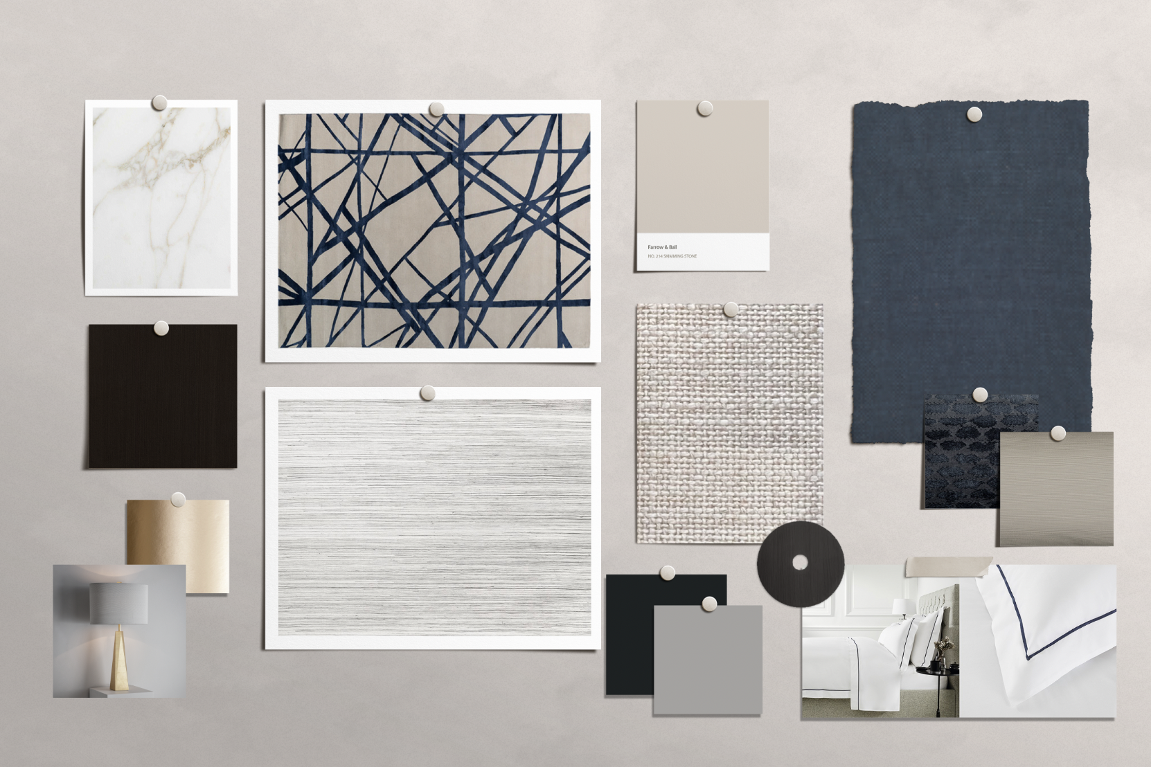 Mood board example as part of NW3 Interior design services.